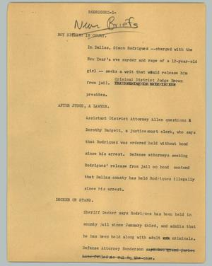 Primary view of object titled '[News Script: Rodriguez]'.