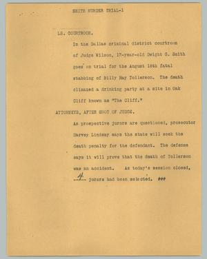 Primary view of object titled '[News Script: Smith murder trial]'.