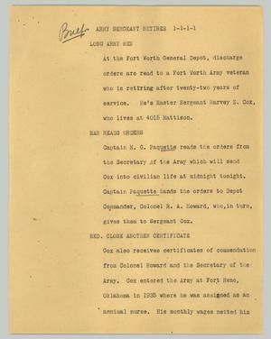 Primary view of object titled '[News Script: Army sergeant retires]'.