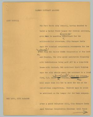Primary view of object titled '[News Script: Hanger contract awarded]'.