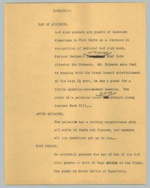 Primary view of object titled '[News Script: Kiwanis]'.