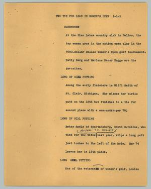 Primary view of object titled '[News Script: Two tie for lead in women's open]'.