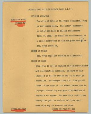 Primary view of object titled '[News Script: Another candidate in senate race]'.