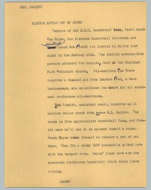 Primary view of object titled '[News Script: SMU banquet]'.