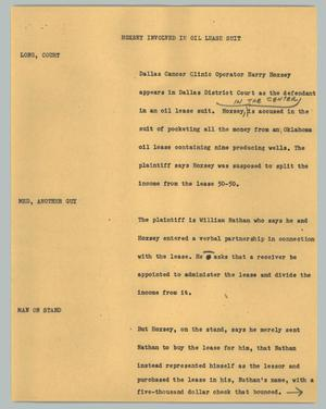 Primary view of object titled '[News Script: Hoxsey involved in oil lease suit]'.