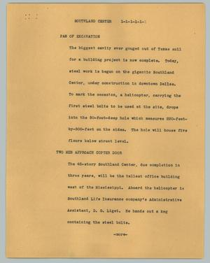 Primary view of object titled '[News Script: Southland Center]'.