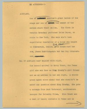 Primary view of object titled '[News Script: Actresses]'.