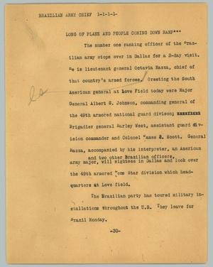 Primary view of object titled '[News Script: Brazilian army chief]'.