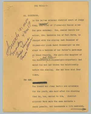 Primary view of object titled '[News Script: Cox trial]'.