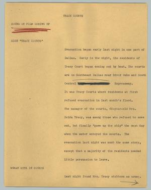 Primary view of object titled '[News Script: Tracy courts]'.