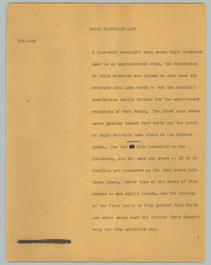 Primary view of object titled '[News Script: Eagle Mountgain Lake]'.