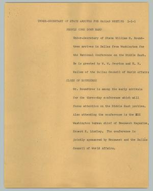 Primary view of object titled '[News Script: Under-Secretary of State arrives for Dallas meeting]'.