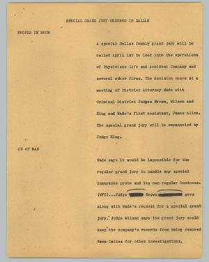 Primary view of object titled '[News Script: Special grand jury ordered in Dallas]'.