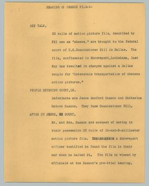 Primary view of object titled '[News Script: Hearing on obscene film]'.