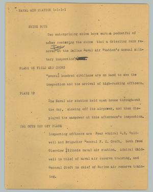 Primary view of object titled '[News Script: Naval air station]'.