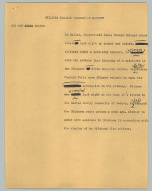 Primary view of object titled '[News Script: Oklahoma escapee charged in robbery]'.