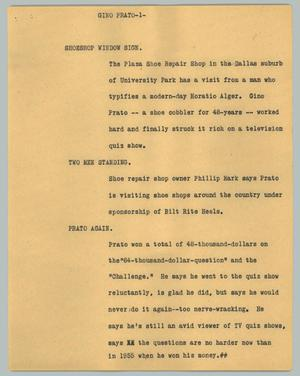 Primary view of object titled '[News Script: Gino Prato]'.