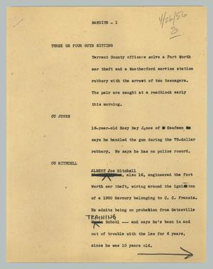Primary view of object titled '[News Script: Bandits]'.