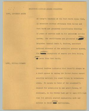 Primary view of object titled '[News Script: Selective Service awards presented]'.
