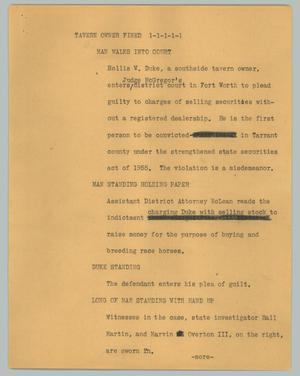 Primary view of object titled '[News Script: Tavern owner fired]'.