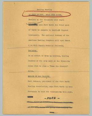 Primary view of object titled '[News Script: Bowling meeting]'.