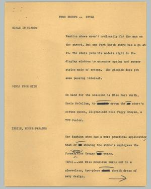 Primary view of object titled '[News Script: News briefs - style]'.