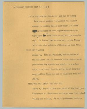 Primary view of object titled '[News Script: Government workers meet]'.