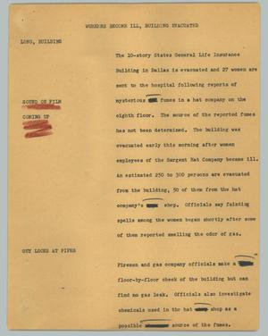 Primary view of object titled '[News Script: Workers become ill, building evacuated]'.