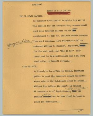 Primary view of object titled '[News Script: Blakley]'.