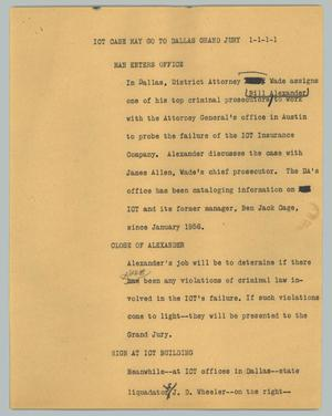 Primary view of object titled '[News Script: ICT case may go to Dallas grand jury]'.