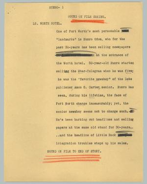 Primary view of object titled '[News Script: Munro]'.