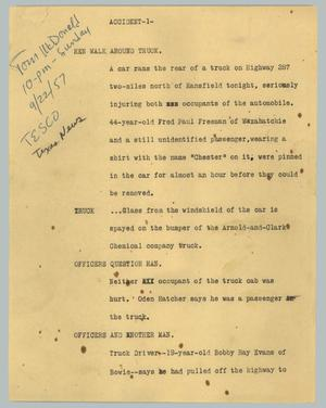 Primary view of object titled '[News Script: Accident]'.