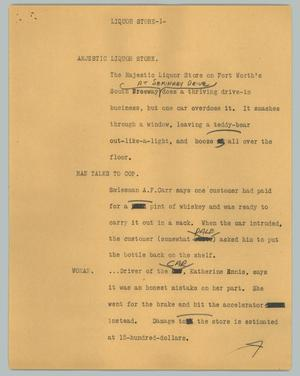 Primary view of object titled '[News Script: Liquor store]'.