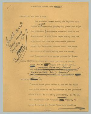 Primary view of object titled '[News Script: Eisenhower drouth tour]'.