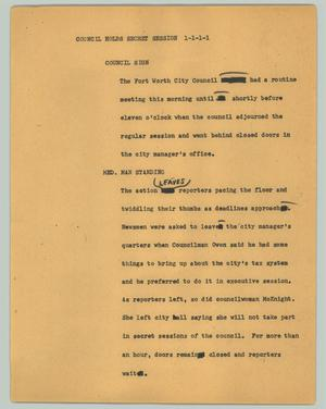 Primary view of object titled '[News Script: Council holds secret session]'.