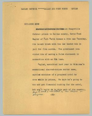 Primary view of object titled '[News Script: Hagler returns - Dallas and Fort Worth review]'.