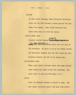 Primary view of object titled '[News Script: TCU -- Kansas]'.