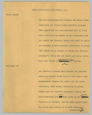 Primary view of object titled '[News Script: Crime group meets with D.A.]'.