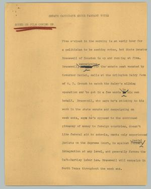 Primary view of object titled '[News Script: Senate candidate seeks Tarrant votes]'.