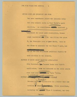 Primary view of object titled '[News Script: Joe Pyle files for council]'.