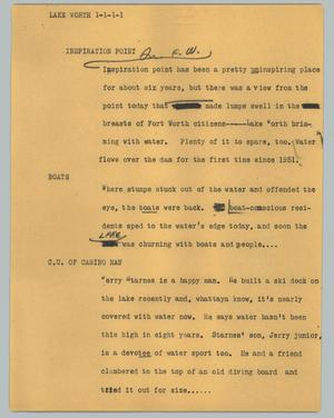 Primary view of object titled '[News Script: Lake Worth]'.