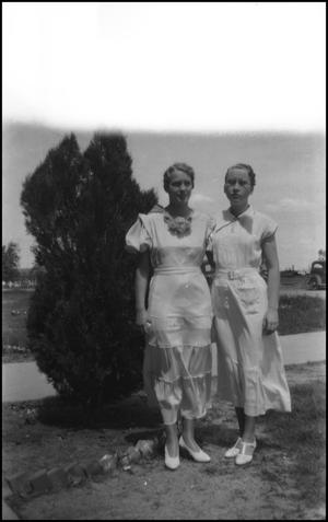 Primary view of object titled '[Mary Elizabeth Evans with unidentified woman]'.