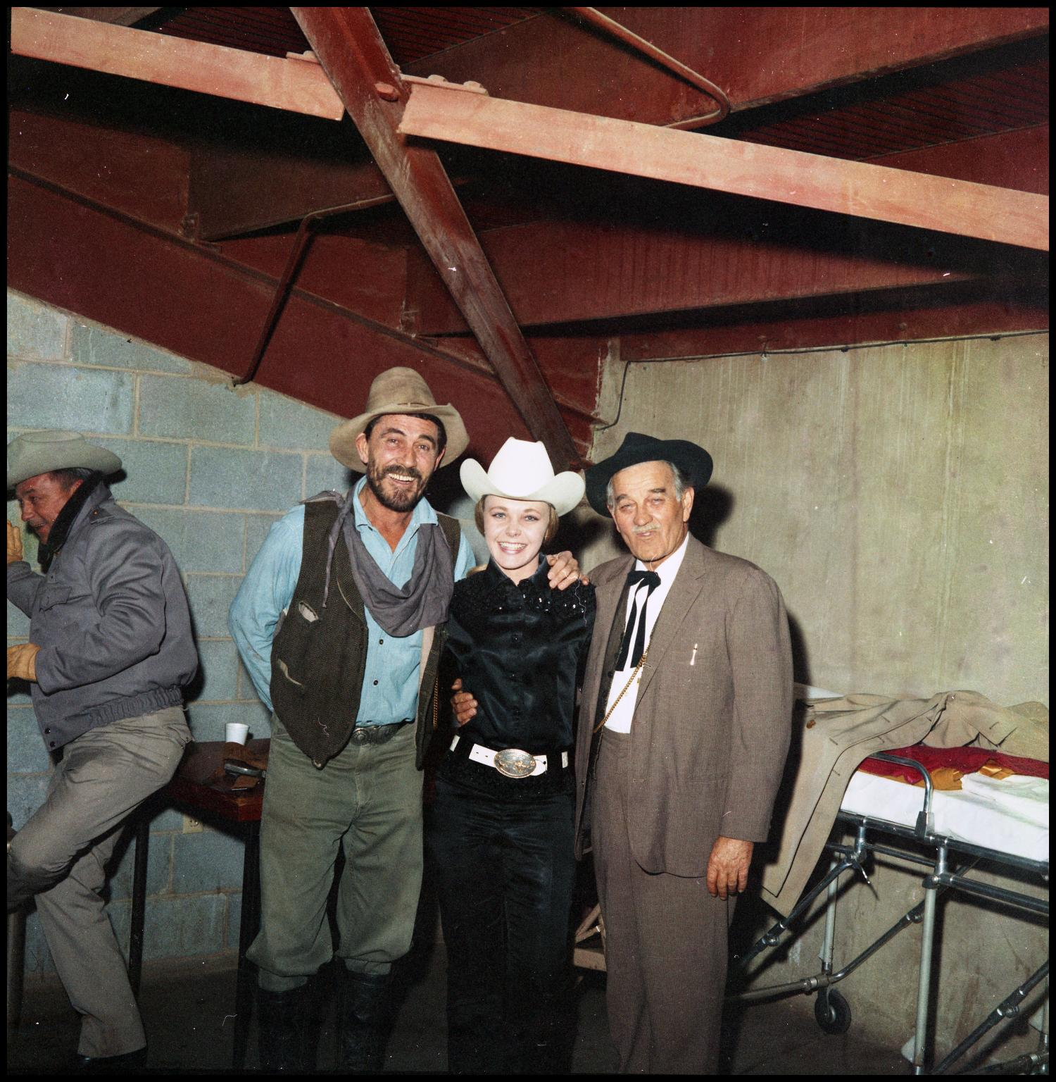 Ken Curtis And Milburn Stone With Unidentified Woman