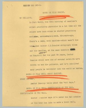 Primary view of object titled '[News Script: Old doc]'.