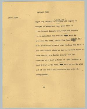 Primary view of [News Script: Zachary free]