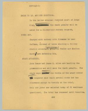 Primary view of object titled '[News Script: Huffman]'.