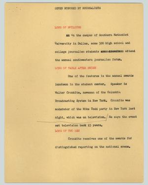 Primary view of object titled '[News Script: Seven honored by Hournalists]'.