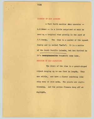 Primary view of object titled '[News Script: Vine]'.
