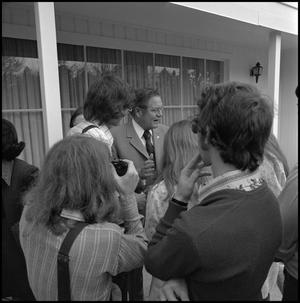 Primary view of [NTSU student reporters with Gov. Dolph Briscoe]