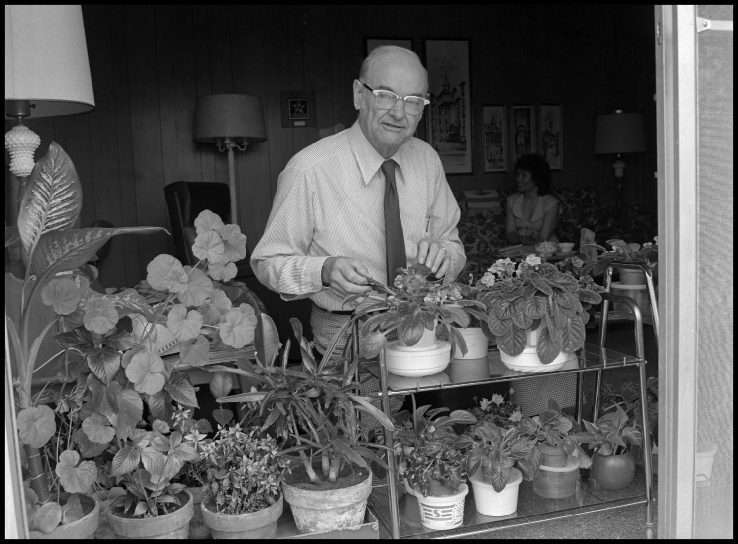 [Garland Brookshear adjusting plants], Photograph of Garland Brookshear, a member of the Management faculty at NTSU, adjusting the leaves on one of his potted plants. There are several close to the window. Behind him a woman is visible sitting on the couch. Brookshear is being photographed for his retirement.,